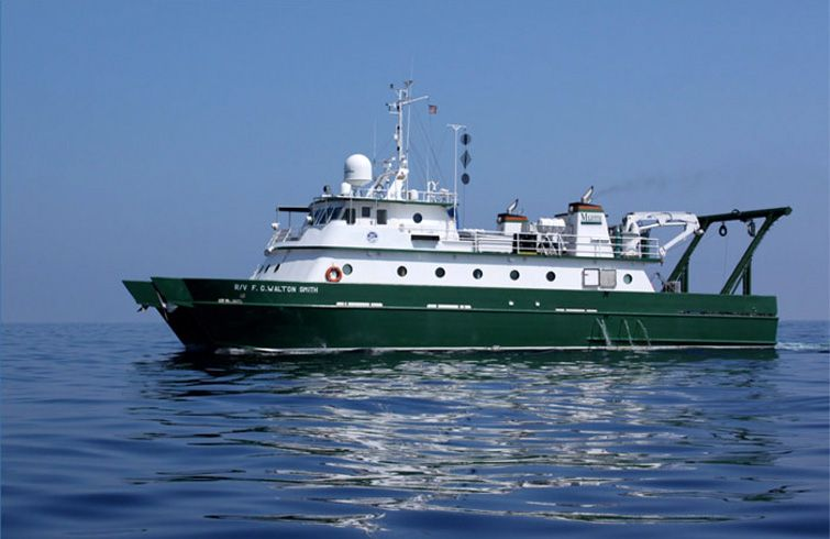 The U.S. F.C. Walton Smith research ship. Photo: Cuba's Twilight Zone Reefs and Their Regional Connectivity.