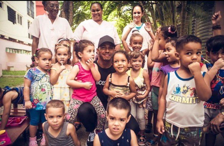 Lewis Hamilton during his visit to the island. Photo: Lewis Hamilton's Instagram.