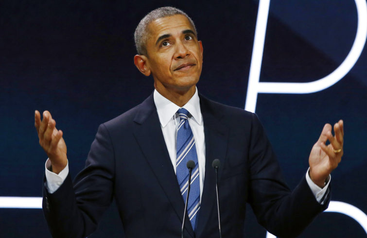 Former President Barack Obama goes to give a speech in Paris, on December 2, 2017. He was one of the users most highlighted on Twitter in 2017. (AP Photo/Thibault Camus, File)
