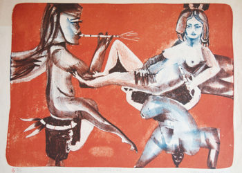 "Piece of the series ""Músicas"", from 1975. Lithography (30 x 42 cm) by Leonel López-Nussa."