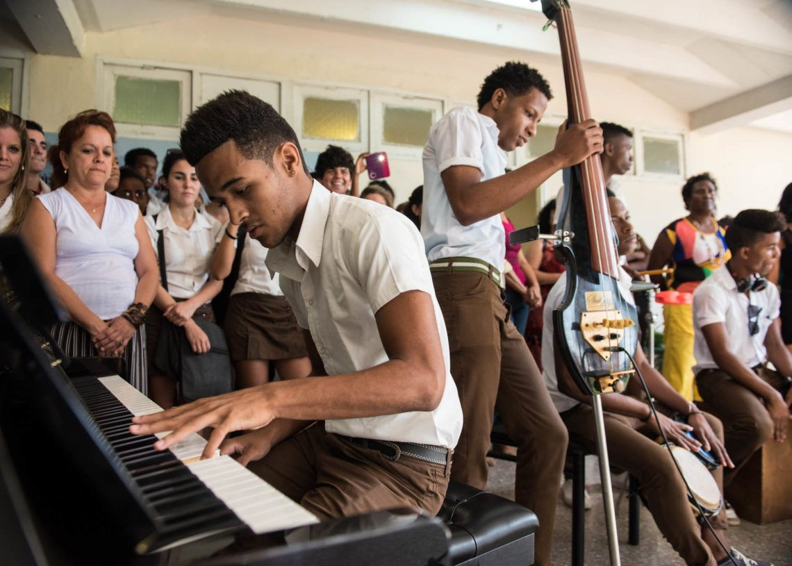 Cuban music students during a meeting with the Minnesota Orchestra in 2015. Photo: Nate Ryan for MPR.