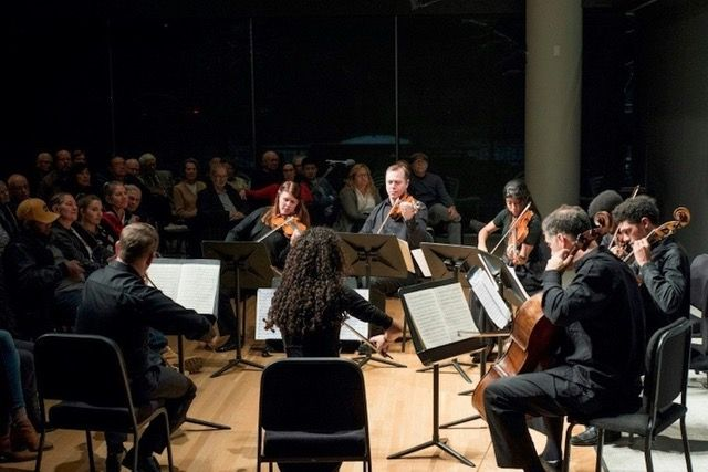 Crisantemi Quartet of Havana, playing with professional musicians of the Minnesota Orchestra, in November 2018 in Minneapolis. Photo: Courtney of Perry / Minnesota Orchestra.