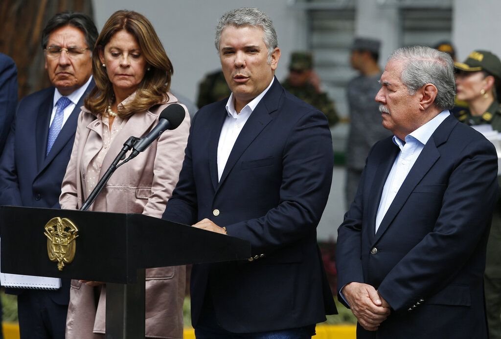 Colombian President Iván Duque making a statement at the Santander General Police School, in Bogotá, after a bomb exploded on the campus on Thursday, January 17, 2019. Photo: John Wilson Vizcaino / AP.
