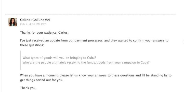 Screenshot of an email of GoFundMe to Carlos Lazo.
