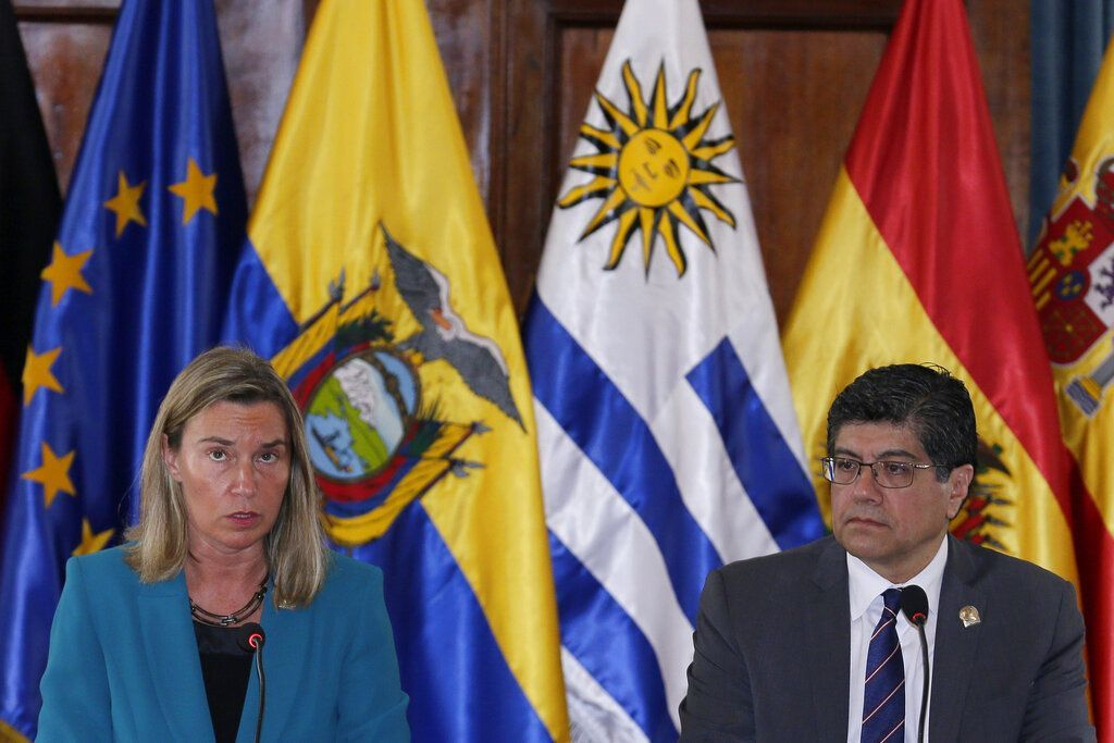 High Representative of the European Union for Foreign Affairs and Security Policy Federica Mogherini and Ecuadorian Foreign Minister José Valencia at the opening of a meeting of the International Contact Group on Venezuela in Quito, Ecuador, on Thursday, March 28, 2019. (AP Photo/Dolores Ochoa)