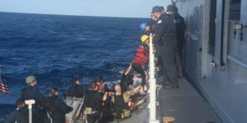 The Charles Sexton Coast Guard ship rescued 26 Cuban immigrants about 50 miles off the coast of Long Key on Tuesday, March 12, 2019. Photo: Coast Guard.