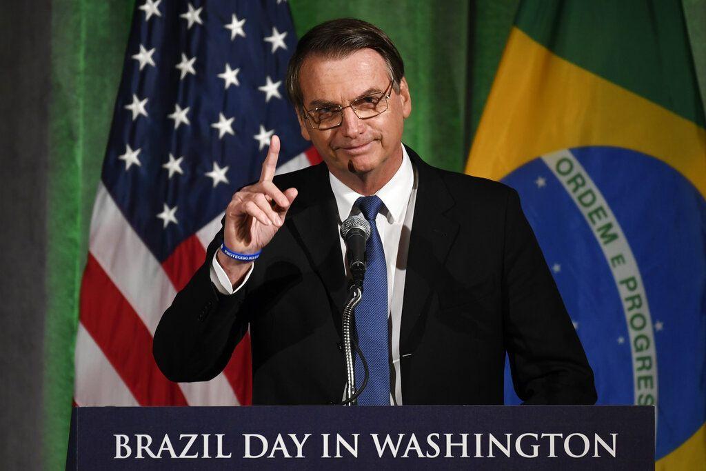 Brazilian President Jair Bolsonaro addressing the Chamber of Commerce in Washington, on Monday, March 18, 2019. Photo: Susan Walsh / AP.