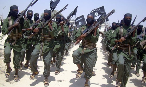 Al-Shabaab forces on the outskirts of Mogadishu. Photo: Mohamed Sheikh Nor/AP.