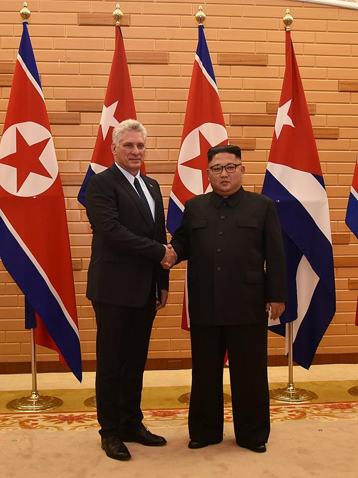 Díaz-Canel with Kim Jong Un during his visit to North Korea in 2018. Photo: Estudios Revolución.