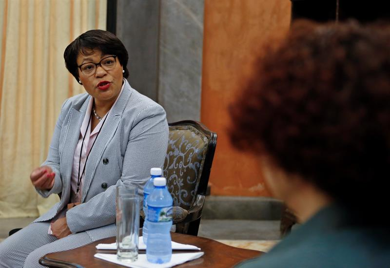 LaToya Cantell, mayor of the city of New Orleans, in Havana. Photo: Yander Zamora/EFE.