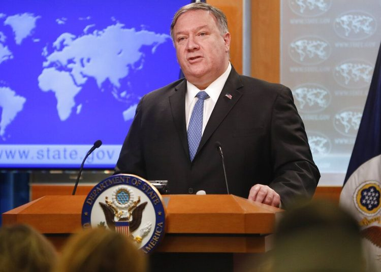 Secretary of State Mike Pompeo during a press briefing at the State Department in Washington, on Wednesday, April 17, 2019. Photo: Pablo Martinez Monsiváis / AP.