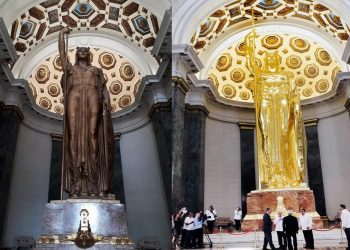 The before and after of the statue of the Republic, newly restored in Cuba's Capitol building. Photos: Facebook Katherine Hechavarría.