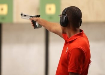 Cuban Jorge Grau won the air gun at 10 meters and got the ticket for the Olympics on Sunday July 28, 2019 at the Lima 2019 Pan American Games. Photo: Mónica Ramírez / Jit.