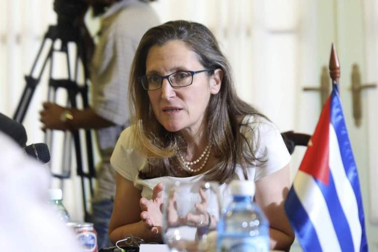 Canadian Foreign Minister Chrystia Freeland during the dialogue with her Cuban counterpart in Havana on May 16, 2019. Photo: Alexandre Meneghini / Photo pool via AP.