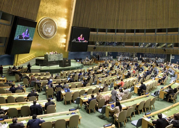 UN General Assembly session where the Cuban resolution calling for an end to the U.S. embargo against Cuba was debated on Wednesday, October 31, 2018, at the organization's headquarters in New York. Photo: Manuel Elias / UN / EFE / Archive.