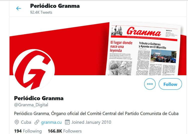 Screenshot of the daily Granma profile on Twitter.