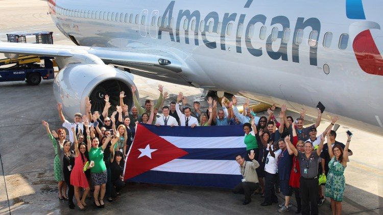 Arrival of first American Airlines flight to Havana, on September 7, 2016. Photo: American Airlines / Archive.