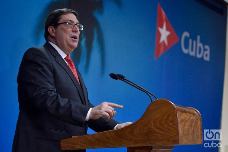 Cuban Foreign Minister Bruno Rodríguez gives statements to the press about the impact of the U.S. embargo/blockade on Cuba, at the headquarters of the Foreign Ministry in Havana, on September 20, 2019. Photo: Otmaro Rodríguez.