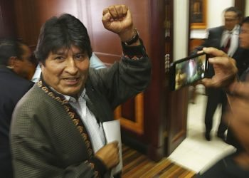 The former Bolivian President Evo Morales after a press conference at the journalists club in Mexico City, on Wednesday, November 27, 2019. (AP Photo / Marco Ugarte)