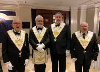 Cuban Octavio Carrera (2-r), currently sovereign grand commander of the Supreme Masonic Council of Spain, along with other members of a delegation of the Spanish entity to a masonic meeting in Istanbul, Turkey, in 2019. Photo: Supreme Masonic Council of Spain / Facebook.