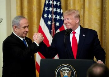 "U.S. President Donald Trump (r), along with Israeli Prime Minister Benjamin Netanyahu (l), during a ceremony at the White House in Washington, where Trump described his peace plan for the Middle East as a ""realistic solution of two States,"" although he proposed to reserve for Israel part of the West Bank and Jerusalem as its ""integral capital."" Photo: EFE/Michael Reynolds."