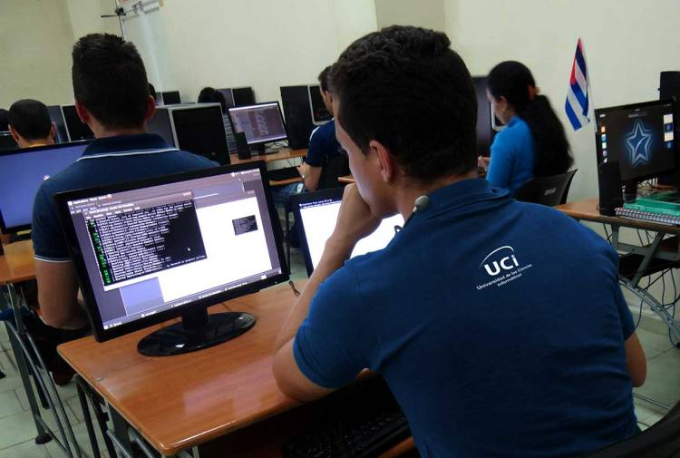 Students in a classroom at the University of Computer Science (UCI), in Havana, Cuba. Photo: @universidad_uci/Twitter