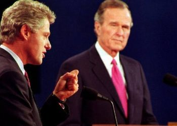 Debate between William Clinton and George Bush. Photo: PBS.