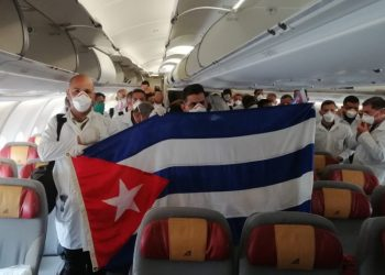 Cuban medical brigade that traveled to Italy to support the fight against the coronavirus pandemic. Photo: @R_Malmierca/Twitter.