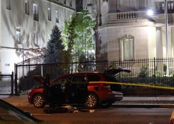 The vehicle related to the events parked outside the diplomatic headquarters. Photo: Antonia Noori Farzan/The Washington Post.