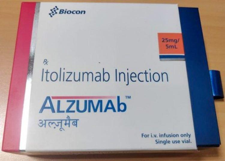Alzumab drug produced in India by Biocon with the Cuban variant of the Itolizumab humanized monoclonal antibody. Photo: indiamart.com