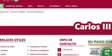 Screenshot of the site of the Cuban Carlos III online store in the electronic commerce platform TuEnvío, of the Cuban state corporation Cimex.