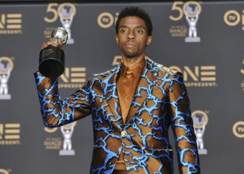 "Chadwick Boseman poses in the press room with the Outstanding Actor in a Movie Award for ""Black Panther"" at the 50th Annual NAACP Image Awards at the Dolby Theater in Los Angeles. Photo: Richard Shotwell/Invision/AP, Archive."