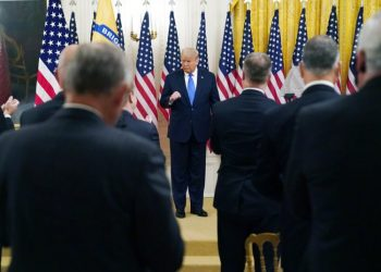 President Donald Trump speaks during an event honoring Bay of Pigs veterans in the East Room of the White House, Wednesday, Sept. 23, 2020, in Washington. Americans traveling to Cuba will not be able to stay in hotels or return home with cigars or rum, according to a series of new sanctions announced by Trump that seek to economically suffocate the island's government. Photo: Evan Vucci/AP