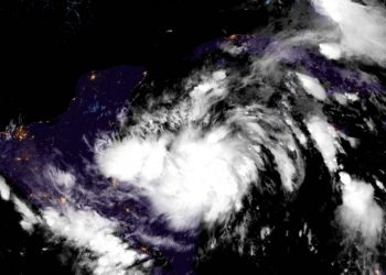Satellite image of Tropical Storm Zeta. Photo: National Hurricane Center/Facebook.