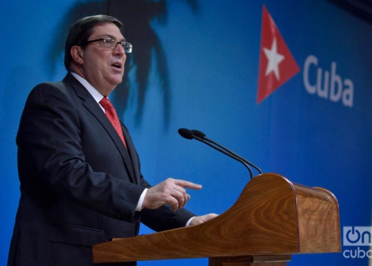 Cuban Foreign Minister Bruno Rodríguez, during a press conference at the headquarters of the Foreign Ministry in Havana. Photo: Otmaro Rodríguez/Archive.