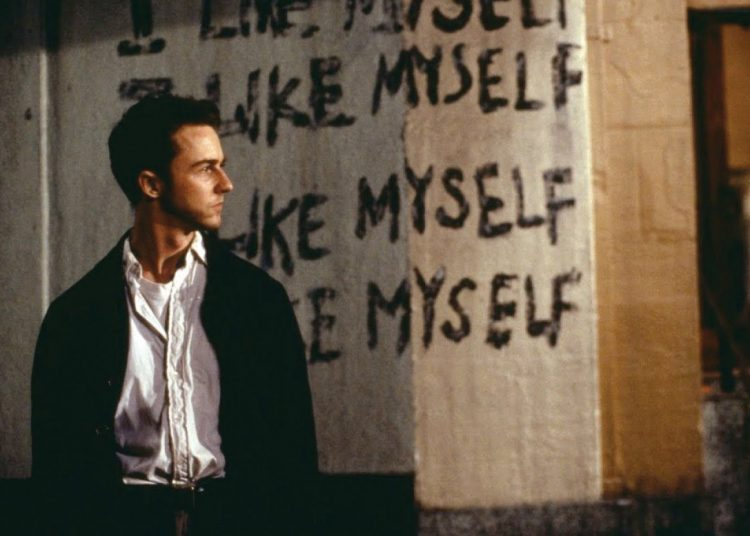 Edward Norton in Fight Club, a 1999 film adaptation by David Fisher of the novel by the same name. Image: Frame shot from the film.