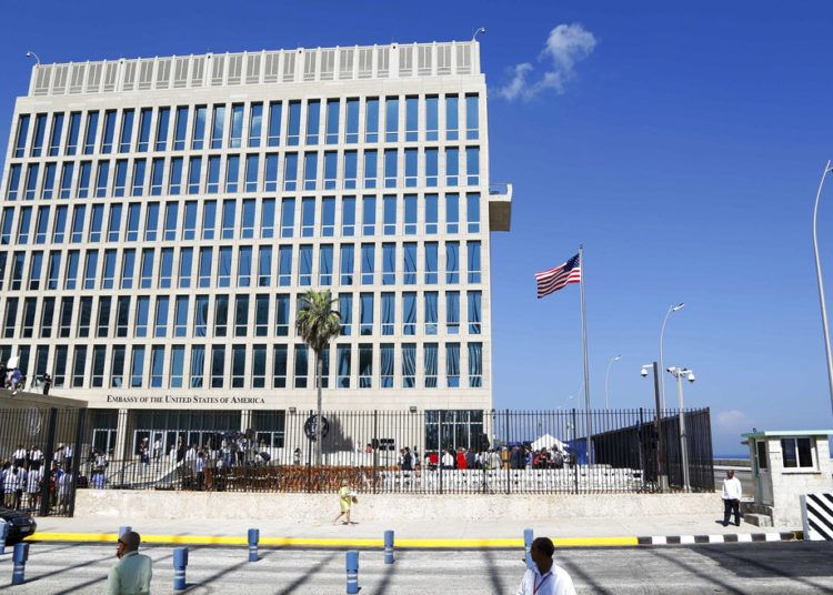 In this Aug.14, 2015 archive photo, the American flag flies at the embassy in Havana. Photo: Desmond Boylan/AP.
