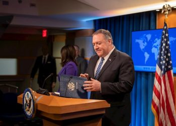 U.S. Secretary of State Mike Pompeo during a press conference at the State Department in Washington. Photo: Erik S. Menor/EFE.