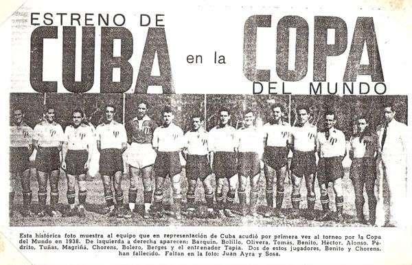 Recorte de prensa del equipo cubano al Mundial de Francia 38.