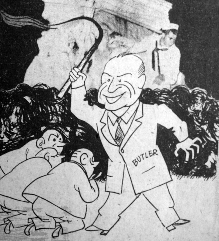 Caricature published by the Popular Socialist Party newspaper Hoy, representing the U.S. ambassador subjugating the Cuban politicians to silence the profanation of the statue of Martí.