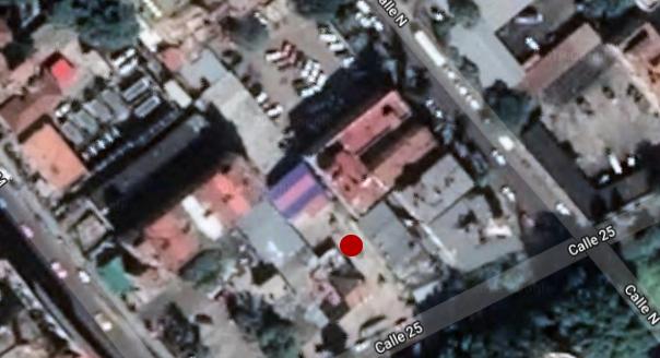 El punto rojo indica la ubicación del Boulevard D´25 en la Calle 25 entre N y M. Foto: GoogleMaps.