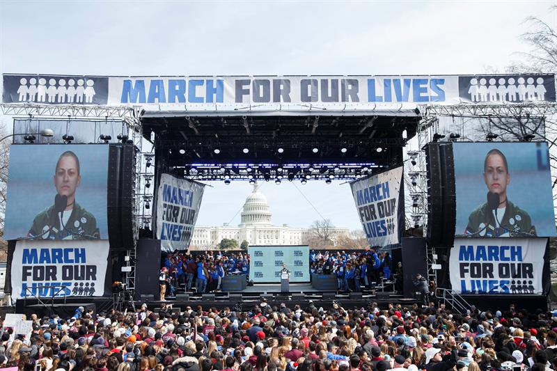 March For Our Lives in Washington, DC, USA, 24 March 2018. March For Our Lives student activists demand that their lives and safety become a priority, and an end to gun violence and mass shootings in our schools (Estados Unidos) EFE/EPA/SHAWN THEW
