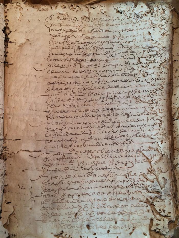 Un documento original del siglo XVI encontrado en el archivo de Cádiz (España), y que forma parte de los miles de documentos antiguos relativos a la Florida hallados en archivos europeos y americanos y estudiados para el proyecto. Foto: EFE/Archivo Dig Int de las Américas.