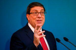 El ministro de Exteriores de Cuba, Bruno Rodríguez, ofrece una conferencia de prensa en La Habana, Cuba. Foto: Desmond Boylan / AP.