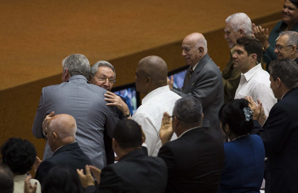 Castro embraces Miguel Díaz-Canel at the time of his nomination as a candidate to president of the Councils of State and of Ministers of Cuba, April 18. Photo: Courtesy of Cubadebate / EFE.