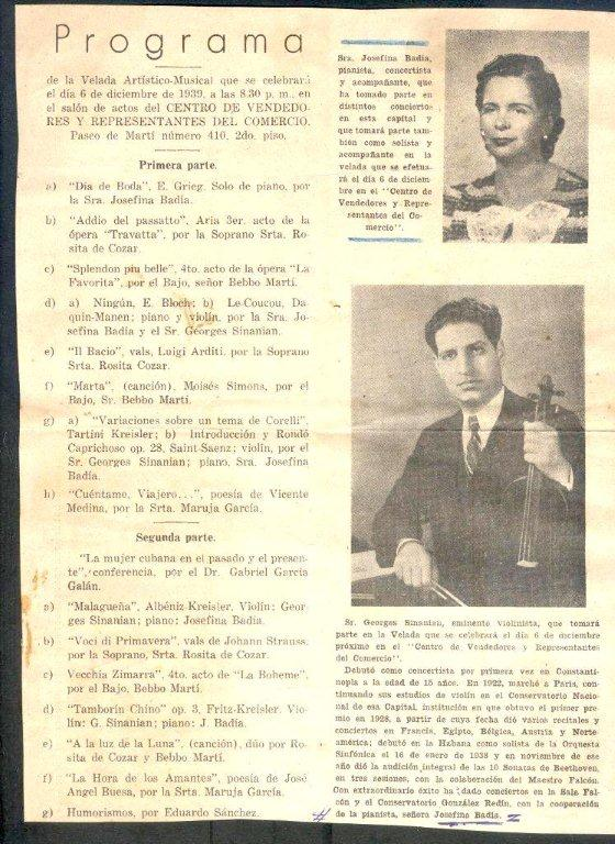 Programa. Foto: Archivo familiar.