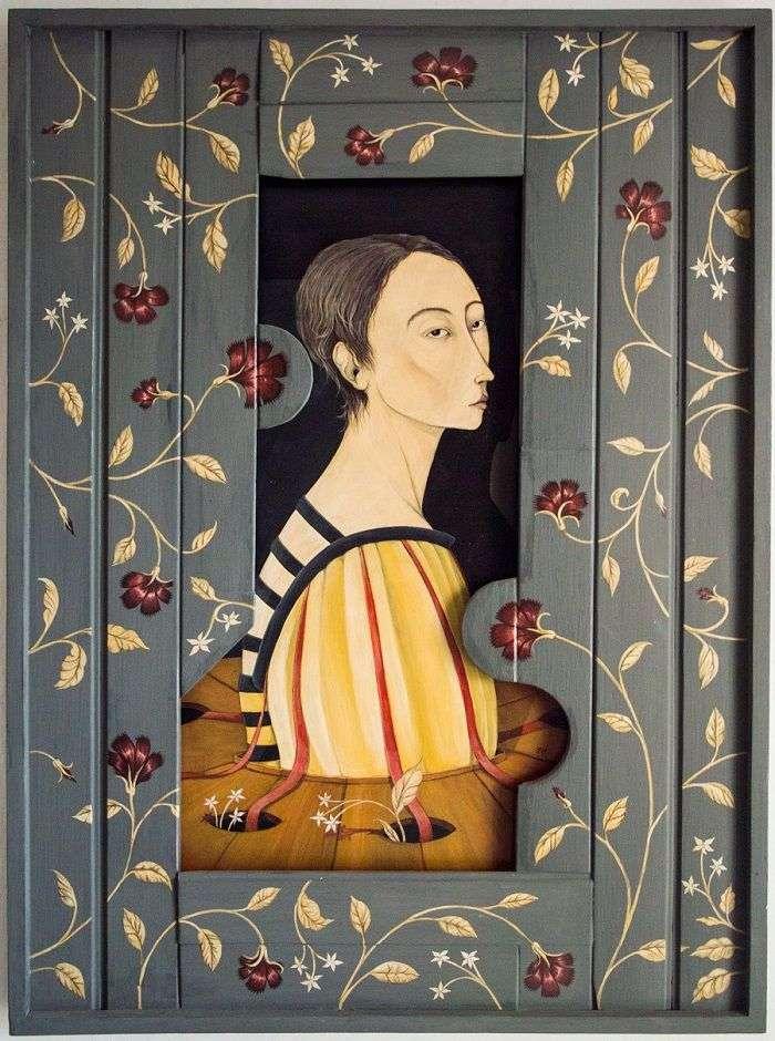 """""""En mi jardín"""". Acrílico sobre lienzo y madera."""