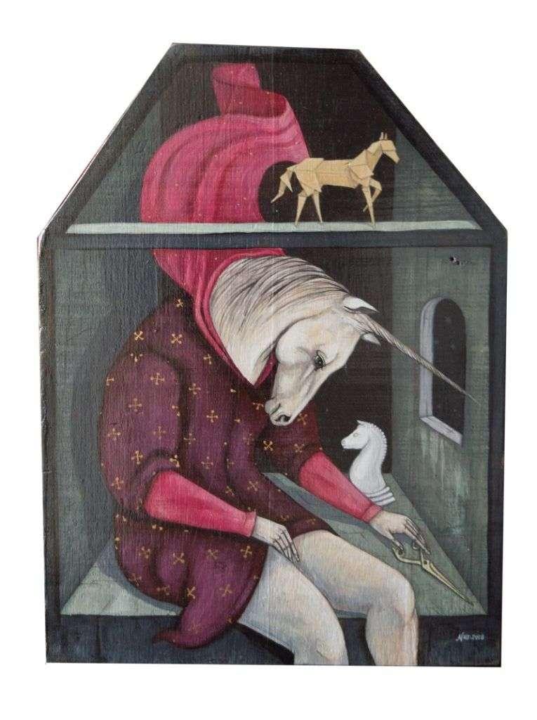 """""""En retrospectiva"""". Acrílico sobre lienzo y madera."""