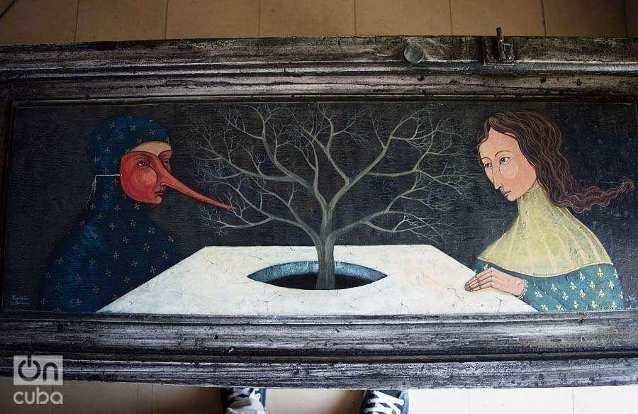 """""""El extraño encuentro"""". Acrílico sobre madera. Foto: Otmaro Rodríguez."""