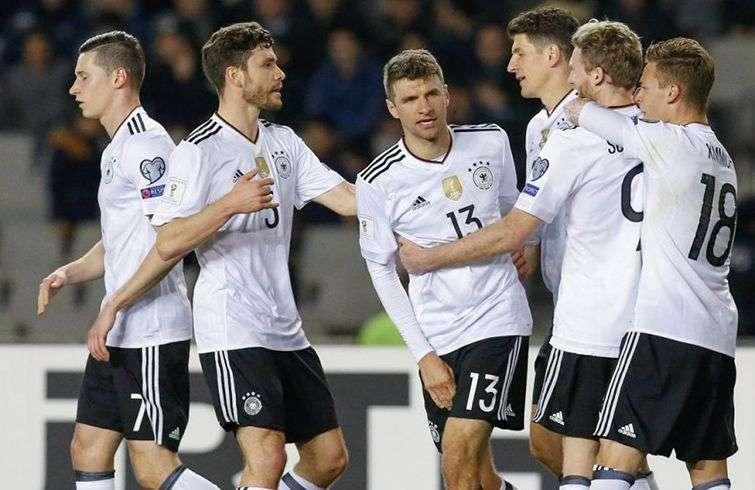 Alemania celebra un gol en la eliminatoria europea a Rusia 2018. Foto: kurdistantv.net